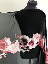 Aquarelle Papillon & Fleur Rose lavé en mousseline de soie crêpe couture tissu