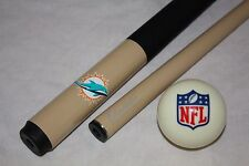 New NFL Miami Dolphins Football Billiard Pool Cue Stick & NFL Logo Cue Ball