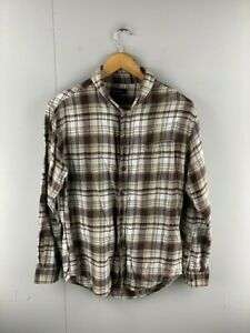 Croft & Barrow Mens Vintage Brown White Check Long Sleeve Button Up Shirt Size S