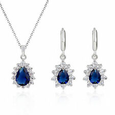 Teardrops Blue Simulated Sapphire Zirconia Set Necklace Earrings Gold Plated