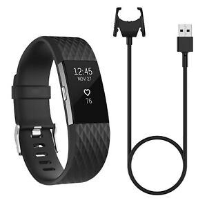 USB Charging Cable Dock Watch Charger for Fitbit Charge 2 Wristband Black