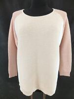 MADELEINE - hübscher Pullover - 44/46 - rosa weiss - Lochmuster - TOP ZUSTAND