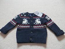 BNWT Boys Ralph Lauren Long Sleeve Blue Reindeer 100% Cotton Cardigan Age 9 mnth