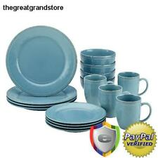 Stoneware Dinnerware Set 16 Piece Durable Cucina Rachel Ray Agave Blue Plate Set