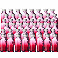 48 Red 1oz Shaded Glass Boston Round 1oz Bottles w/ Silver Aluminum Caps 48 Pack