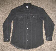 Calvin Klein Jean Shirt Mens L Black Denim Button Fly Long Sleeve Excellent USA