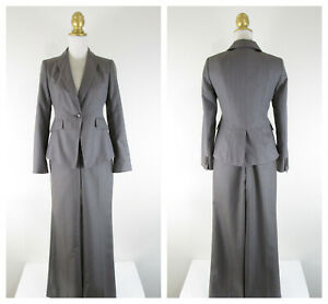 Ann Taylor Petite Womens Solid Gray Pant Suit Size 4P Formal Business Career