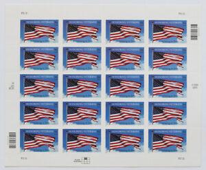 34c HONORING VETERANS Pane of 20 2001 Scott #3508 Flag Waving