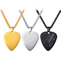 U7 Guitar Pick Pendant Necklace Stainless Steel Gold Color Music Jewelry Men