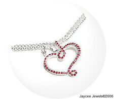 JEWELLERY SPARKLING MULTI STRAND OPEN HEART NECKLACE RED CRYSTALS SILVER