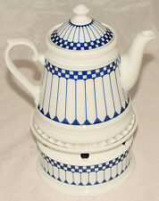 KONIGL PR TETTAU - White & Blue Geometric Check - 2 piece TEA POT & Warmer SET