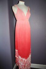 NWT Gypsy 05 La Ba Dee Coral Tie Dye Deep V Bamboo Twist Strap Maxi Dress M $143