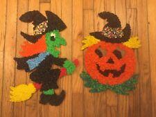 Melted plastic popcorn Halloween decorations witch pumpkin jack-o-lantern