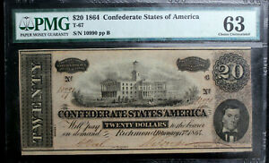 T-67 $20 1864 CONFEDERATE CURRENCY CSA PMG 63 CHOICE UNCIRCULATED PF-3