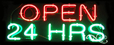 "BRAND NEW ""OPEN 24 HOURS"" 32x13 REAL NEON SIGN w/CUSTOM OPTIONS 10004"