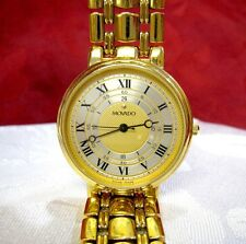 MOVADO ESQ 87.59.886 WHITE AND GOLD ROMAN DIAL GOLD PLATED DRESS MEN'S WATCH