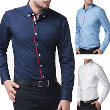 New camisas para hombre ocasionales formal del ajustado de manga larga S/M/L/XL