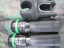 2 x Zoom Cree Taschenlampe FOCUS über 100m Leuchtweite + 1 Halter grün