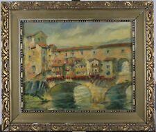 Louis Lerat, 1905, Italie, Florence, Ponte Vecchio, Huile sur toile, Circa 1950