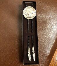 Tone - Black Woven Buffalo Nickel Bolo - Silver