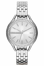 NEW ARMANI EXCHANGE ALLETE SILVER S/STEEL,CRYSTAL PAVE ,MIRROR DIAL WATCH-AX4254