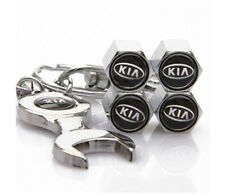 Car Tire Valve Caps + Spanner key ring Badge For KIA Cerato Rio soul Sportage