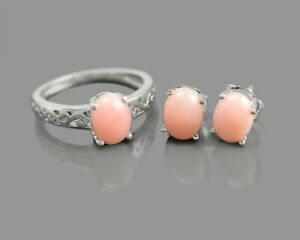 Natural Pink Opal Gemstone 925 Sterling Silver 8x6MM Ring Earring Jewelry Set