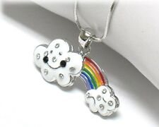 NEW CRYSTAL RAINBOW CLOUDS PENDANT NECKLACE WHITE GOLD PLATED