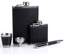 9oz 304 Stainless Steel Black Leather Premium/Heavy Duty Hip Flask Gift Box Set