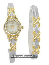 ladies Elgin gold silver tone party business watch + bracelet set  gift box