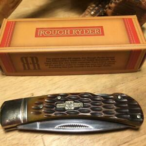 "Rough Ryder Amber Jigged Bone Lockback 3 1/8"" Pocket Knife  RR461"