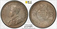India George V silver 1 rupee 1922 Bombay toned about uncirculated PCGS AU58