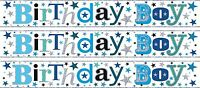 BIRTHDAY BOY SILVER AND BLUE FOIL WALL BANNERS (SE)