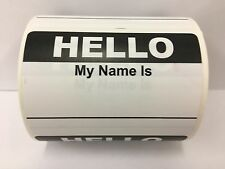 "250 Labels 3.5""x 2.375"" BLACK Hello My Name Is Badge Tag Identification Stickers"