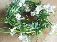 Zart Draht Blüten 180cm Türdekoration Geländer Girlande Deko Blumengirlande weiß