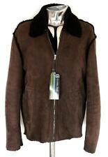 Nicole Farhi Leather Sheepskin Shearling Jacket Brown Large EU52 RRP £1200 coat
