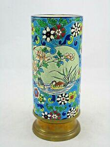 "Antique French Longwy Enamel Cloisonne Birds Painted Vase Brass Mount 7 5/8"""