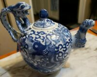 Vintage Chinese Teapot Porcelain with Dragon Design, Blue and White, Signed
