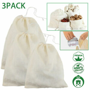 3Pack Organic Cotton Nut Milk Bag Food Strainer Brew Coffee Cheese Cloth
