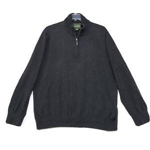 Eddie Bauer Cotton Cashmere Sweater Mens XXLT XXL Tall Gray 1/4 Zip Mock Neck