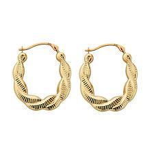 9ct Gold Patterned Hoop Creole Earrings