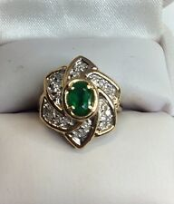 Emerald Diamond Gold Ladies Ring (j469)