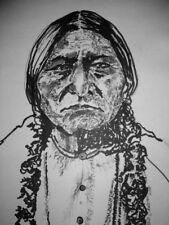 Original Portrait and Drawing of Sitting Bull  Ink on paper signed by Artist