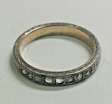 ANTIQUE RUSSIAN STERLING SILVER BAND WITH ROSE CUT DIAMONDS HAND ENGRAVED