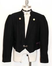 ALPHORN~BLACK WOOL Women German Short Riding Dirndl Dress Suit Coat JACKET 16 L