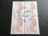 FRANCE BLOC timbres 2239 LIBERTE' DELACROIX, oblitéré 1982 cachet rond, QUARTINA