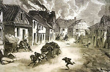 Uhlans Burnin FRENCH VILLAGE War Military 1870 Antique Engraving Print Matted