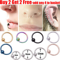 Surgical Steel Ball Closure Nose Ring Eyebrow Daith Ring Tragus Lip Hoop Ring