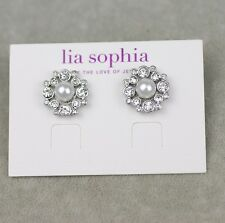 Lia sophia signed jewelry faux pearl cut crystal stud earrings silver tone plate