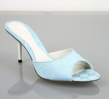 New Authentic GUCCI Light Blue GG Canvas Slide Sandals, 36.5/US 6.5, 283736